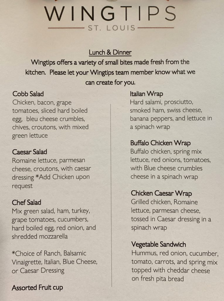 Wingtips Lounge Food Menu STL