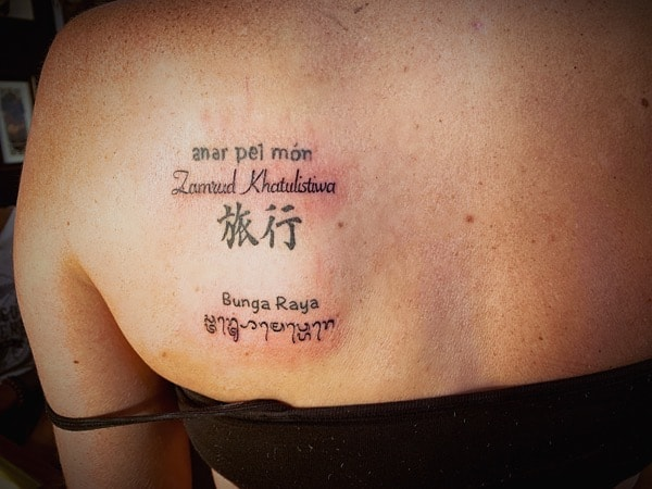 Travel Tattoo Catalan, Malay, Japanese, Behasa, Aksara Bali